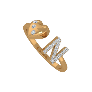 The Heart & N Gold Diamond Ring
