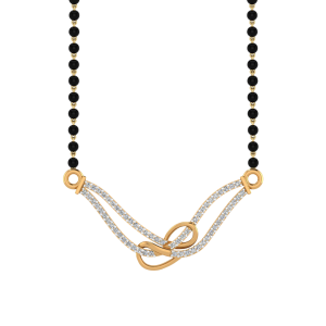 Infinity Loop Mangalsutra With Black Beads Gold Chain