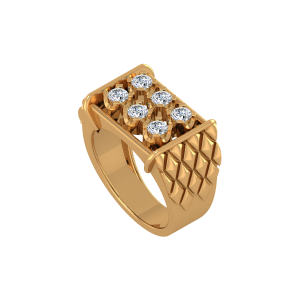 Linear Wreath Gold Diamond Ring