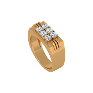 The Sapid Rows Gold Diamond Mens Ring