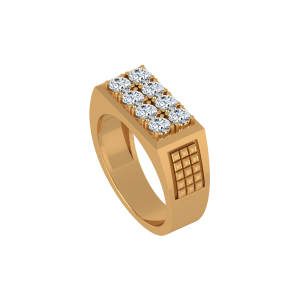Fastened Rows Gold Diamond Ring
