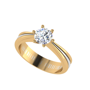 Unique Two Tone Engagement Solitaire Ring