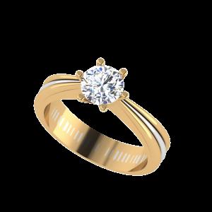 Unique Two Tone Engagement Solitaire Ring