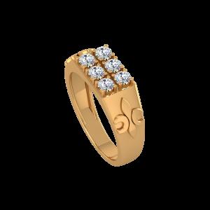 The Flow Art Gold Diamond Mens Ring
