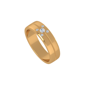 The White Buttons Gold Diamond Ring