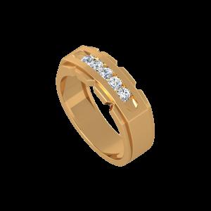 Double Glitter Gold Diamond Ring