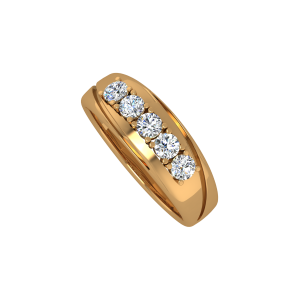 The Solitaire Stitch Gold Diamond Men's Ring