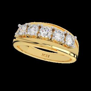 The Solitaire Stitch Gold Diamond Men's Ring