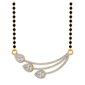 Pears Play Mangalsutra With Black Beads Gold Chain