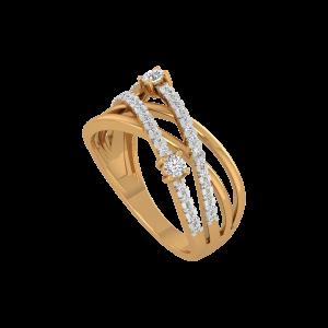 Golden Crossing Gold Diamond Ring