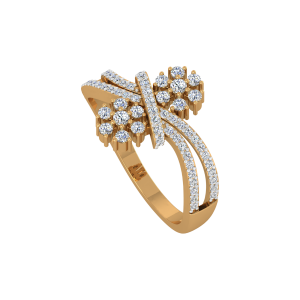 Floral Kisses Gold Diamond Ring