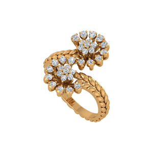 Floral Panache Gold Diamond Floral Ring
