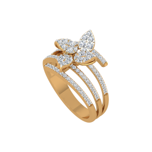 Diamond Petals Gold Diamond Ring