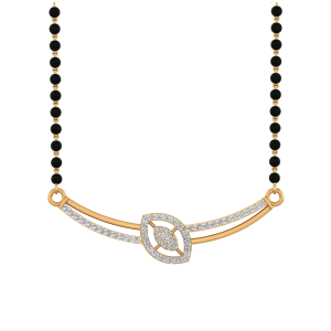 Elegant Accent Mangalsutra With Black Beads Gold Chain
