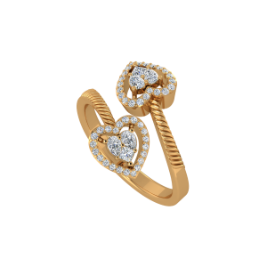 The Crossing Hearts Gold Diamond Ring