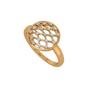 The Chequered Trend Gold Diamond Ring
