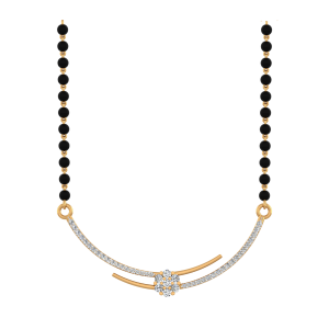 See Saw Mangalsutra With Black Beads Gold Chain