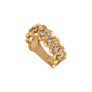 The Braided Gold Diamond Ring