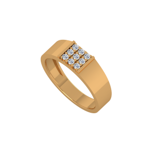 The Square Men's Gold Diamond Ring