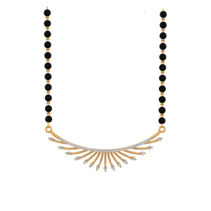 The Sunshine Mangalsutra With Black Beads Gold Chain