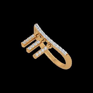 The Shining Strips Gold Diamond Ring