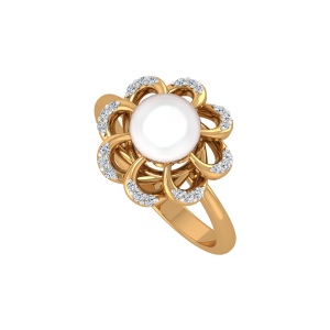 The Pearl Twirls Gold Diamond Ring