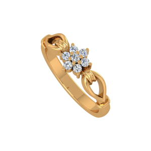The Floral Badge Gold Diamond Ring