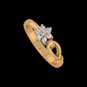 Floral Loop Gold Diamond Ring