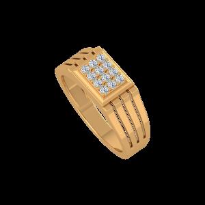 The Golden Enclosure Gold Diamond Ring