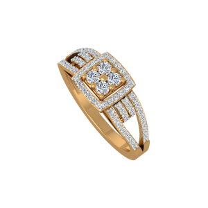 The Center Square Gold Diamond Ring
