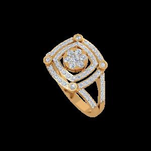 Square Statement Gold Diamond Ring