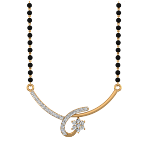 The Falling Star Mangalsutra With Black Beads Gold Chain