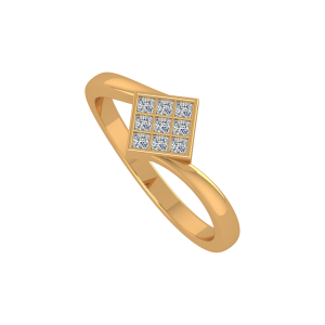 All squared away Gold Diamond Ring