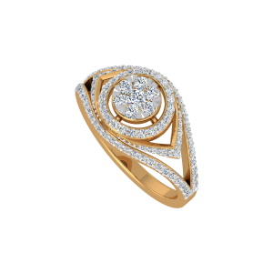 Dramatic Display Gold Diamond Ring