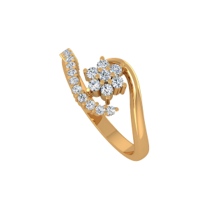 The Floral Scarf Gold Diamond Ring