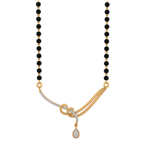 Hold Me Forever Mangalsutra With Black Beads Gold Chain
