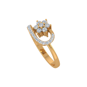 Floral Recall Gold Diamond Ring