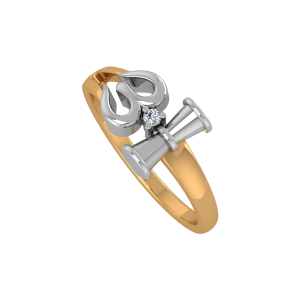 The Sacred Om Trishul Gold Diamond Ring