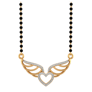 Fly High Mangalsutra With Black Beads Gold Chain