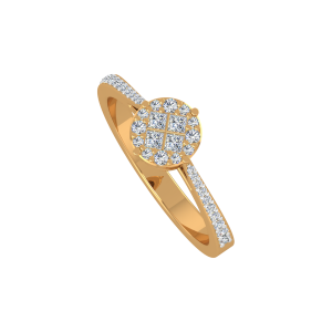 The Chequered Round Gold Diamond Ring