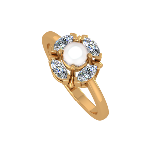 The Pearl Marq Gold Diamond & Pearl Ring
