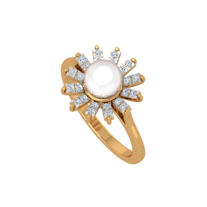 The Sun Shine Gold Diamond & Pearl Ring