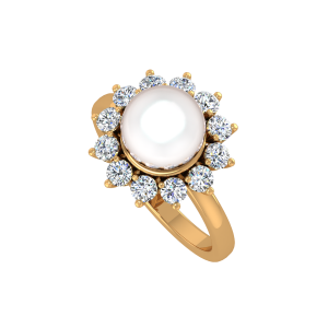 The Pearl Parked Gold Diamond & Pearl Ring