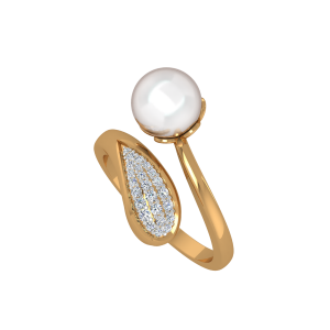 The Trendy Eye Gold Diamond & Pearl Ring