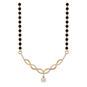 Swirls Style Mangalsutra With Black Beads Gold Chain