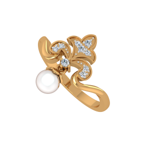 The Fleur de lis Gold Diamond & Pearl Ring
