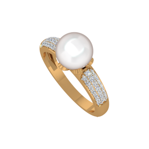 The Pearl Way Gold Diamond & Pearl Ring