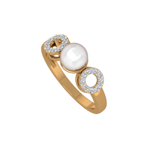 The Pearl Treat Gold Diamond Ring