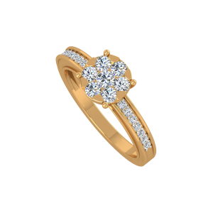 Floral Crossover Gold Diamond Ring