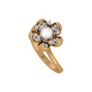 A Flor  Pérola Gold Diamond Ring & Pearl